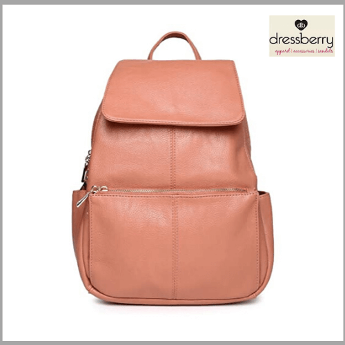 DressBerry-Women-Peach-Coloured-Backpack